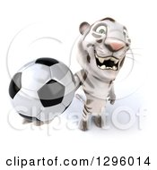 Clipart Of A 3d White Tiger Holding Up A Soccer Ball Royalty Free Illustration