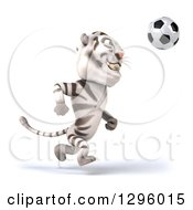 Clipart Of A 3d White Tiger Playing Soccer 3 Royalty Free Illustration