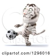 Clipart Of A 3d White Tiger Playing Soccer 2 Royalty Free Illustration