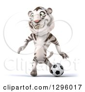 Clipart Of A 3d White Tiger Playing Soccer Royalty Free Illustration
