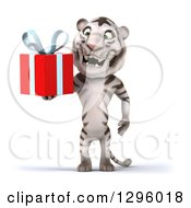Clipart Of A 3d White Tiger Holding A Gift Royalty Free Illustration