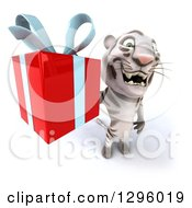 Clipart Of A 3d White Tiger Holding Up A Gift Royalty Free Illustration