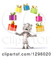 Clipart Of A 3d White Tiger Juggling Colorful Gifts Royalty Free Illustration
