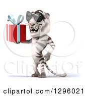 Clipart Of A 3d White Tiger Wearing Sunglasses Facing Left And Holding A Gift Royalty Free Illustration