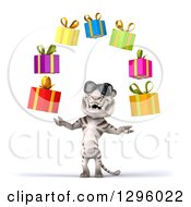 Clipart Of A 3d White Tiger Wearing Sunglasses And Juggling Colorful Gifts Royalty Free Illustration