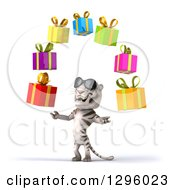 Clipart Of A 3d White Tiger Wearing Sunglasses Facing Slightly Left And Juggling Colorful Gifts Royalty Free Illustration
