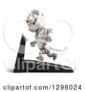 Clipart Of A 3d White Tiger Facing Left And Running On A Treadmill Royalty Free Illustration