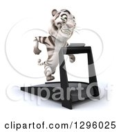 Clipart Of A 3d White Tiger Facing Slightly Right And Running On A Treadmill Royalty Free Illustration