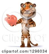 Clipart Of A 3d Tiger Holding And Pointing To A Piggy Bank Royalty Free Illustration