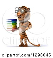 Clipart Of A 3d Bespectacled Tiger Facing Left Holding And Pointing To A Stack Of Books Royalty Free Illustration