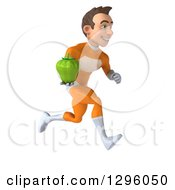 Clipart Of A 3d Young Brunette White Male Super Hero In An Orange Suit Running To The Right With A Bell Pepper Royalty Free Illustration