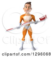 Clipart Of A 3d Young Brunette White Male Super Hero Dentist In An Orange Suit Holding A Giant Toothbrush Royalty Free Illustration