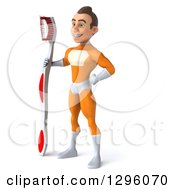 Clipart Of A 3d Young Brunette White Male Super Hero Dentist In An Orange Suit Facing Left And Standing With A Giant Toothbrush Royalty Free Illustration