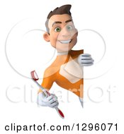 Clipart Of A 3d Young Brunette White Male Super Hero Dentist In An Orange Suit Holding A Toothbrush Around A Sign Royalty Free Illustration