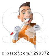 Clipart Of A 3d Young Brunette White Male Super Hero Dentist In An Orange Suit Brushing His Teeth Around A Sign Royalty Free Illustration