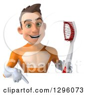 Clipart Of A 3d Young Brunette White Male Super Hero Dentist In An Orange Suit Holding A Toothbrush And Pointing Down Over A Sign Royalty Free Illustration