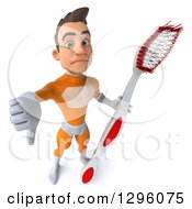 Clipart Of A 3d Unhappy Young Brunette White Male Super Hero Dentist In An Orange Suit Holding Up A Thumb Down And A Giant Toothbrush Royalty Free Illustration