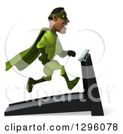 Clipart Of A 3d Male Black Super Hero In Green Facing Right And Running On A Treadmill Royalty Free Illustration