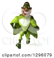 Clipart Of A 3d Male Black Super Hero In Green Sprinting Forward Royalty Free Illustration