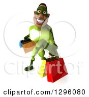 Clipart Of A 3d Male Black Super Hero In Green Facing Left Smiling And Holding Shopping Bags Royalty Free Illustration