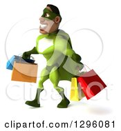 Clipart Of A 3d Male Black Super Hero In Green Facing Left And Walking With Shopping Bags Royalty Free Illustration