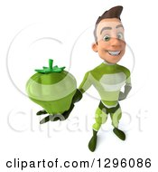 Clipart Of A 3d Young Brunette White Male Super Hero In A Green Suit Holding Up A Bell Pepper Royalty Free Illustration by Julos