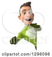Clipart Of A 3d Young Brunette White Male Super Hero In A Green Suit Pointing Outwards Around A Sign Royalty Free Illustration