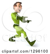 Clipart Of A 3d Young Brunette White Male Super Hero In A Green Suit Walking To The Right And Pointing Royalty Free Illustration