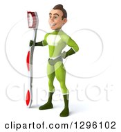 Clipart Of A 3d Young Brunette White Male Super Hero Dentist In A Green Suit Facing Left With A Giant Toothbrush Royalty Free Illustration