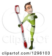 Clipart Of A 3d Full Length Young Brunette White Male Super Hero Dentist In A Green Suit Holding Giant Toothbrush Around A Sign Royalty Free Illustration