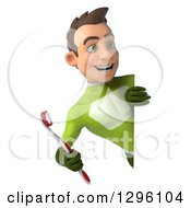 Clipart Of A 3d Young Brunette White Male Super Hero Dentist In A Green Suit Holding Giant Toothbrush Around A Sign Royalty Free Illustration