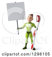 Clipart Of A 3d Young Brunette White Male Super Hero Dentist In A Green Suit Holding A Blank Sign And A Giant Toothbrush Royalty Free Illustration