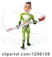 Clipart Of A 3d Young Brunette White Male Super Hero Dentist In A Green Suit Walking With A Giant Toothbrush Royalty Free Illustration