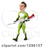 Clipart Of A 3d Young Brunette White Male Super Hero Dentist In A Green Suit Walking Left With A Giant Toothbrush Royalty Free Illustration