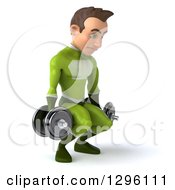 Clipart Of A 3d Young Brunette White Male Super Hero In A Green Suit Squatting And Working Out With Dumbbells Royalty Free Illustration