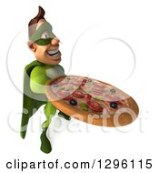 Clipart Of A 3d Caucasian Green Super Hero Man Facing Right And Holding Up A Pizza Royalty Free Illustration by Julos