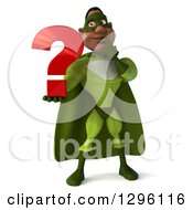 Clipart Of A 3d Male Black Super Hero In Green Holding A Question Mark Royalty Free Illustration