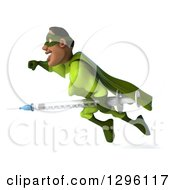 Clipart Of A 3d Male Black Super Hero In Green Flying To The Left With A Vaccine Syringe Royalty Free Illustration