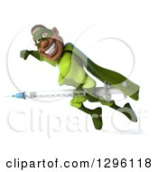 Clipart Of A 3d Male Black Super Hero In Green Smiling And Flying To The Left With A Vaccine Syringe Royalty Free Illustration