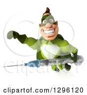 Clipart Of A 3d Super Hero Man In A Green Costume Smiling And Flying With A Vaccine Syringe Royalty Free Illustration