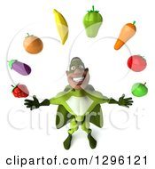 Clipart Of A 3d Male Black Super Hero In Green Looking Up And Juggling Produce Royalty Free Illustration