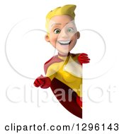 Clipart Of A 3d Blond White Female Super Hero In A Yellow And Red Suit Pointing Outwards Around A Sign Royalty Free Illustration