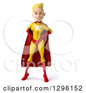 Clipart Of A 3d Blond White Female Super Hero In A Yellow And Red Suit Standing With Hands On Hips Royalty Free Illustration