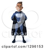 Clipart Of A 3d Young Indian Male Super Hero Dark Blue Suit With Hands On Hips Royalty Free Illustration