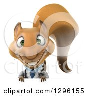 Clipart Of A 3d Doctor Or Veterinarian Squirrel Smiling Over A Sign Royalty Free Illustration