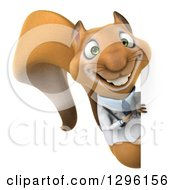 Clipart Of A 3d Doctor Or Veterinarian Squirrel Pointing Around A Sign Royalty Free Illustration