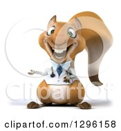 Clipart Of A 3d Doctor Or Veterinarian Squirrel Presenting To The Left Royalty Free Illustration