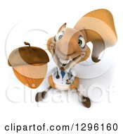 Clipart Of A 3d Doctor Or Veterinarian Squirrel Holding Up An Acorn Royalty Free Illustration