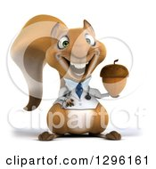 Clipart Of A 3d Happy Doctor Or Veterinarian Squirrel Holding An Acorn Royalty Free Illustration