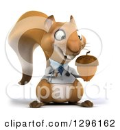 Clipart Of A 3d Doctor Or Veterinarian Squirrel Holding And Pointing To An Acorn Royalty Free Illustration